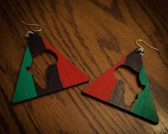 RBG Triangle Africa Earrings Vertical
