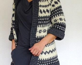fair isle cardigan, bulky, chunky, icelandic cardigan, nordic sweater, llama wool, grey cardigan, bulky coat, small, ready to ship