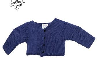 """FOURMIGUETTE"" - shape V - blue Wool Cardigan"