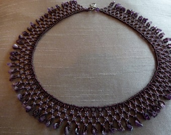 Handcrafted Beaded Spiderweb Necklace