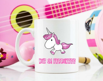 Unicorn mug of happiness unique gift birthday Christmas Not available on the High Street