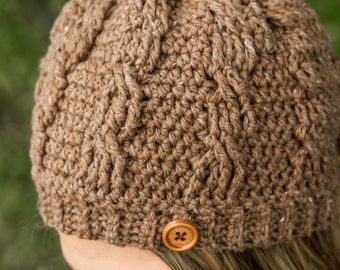 Women's Cable Crocheted Beanie