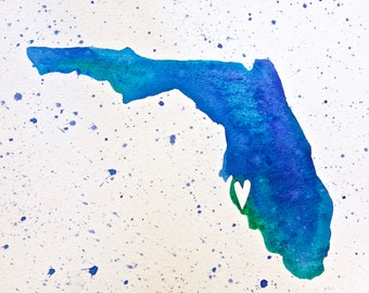 "Tampa, Florida Love Map in Ocean Blues, 8"" x 10"". Original Watercolor Painting on Watercolor Paper."