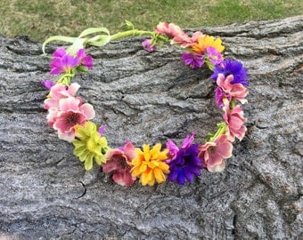 Multi Colored Flower Headband, Flower Halo, Flower Crown on Leather Lace