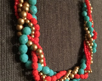Wedding necklace - coral and teal statement necklace - bridesmaid necklace - coral and teal necklace - beaded statement necklace