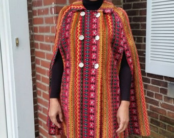 AMAZING 60's Tapestry Cape Multicolor Fabulous Fall