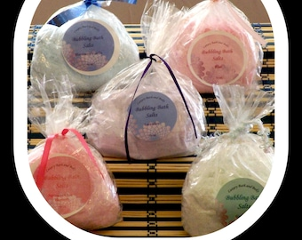 Bubbling Bath Salts.  The benefits of a salt bath with bubble bath. An easy way to travel without having liquid bubble bath to worry about.