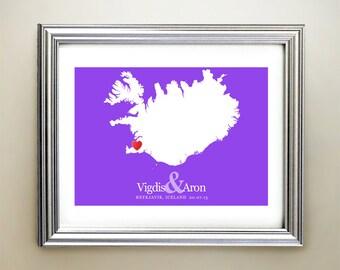 Iceland Custom Horizontal Heart Map Art - Personalized names, wedding gift, engagement, anniversary date
