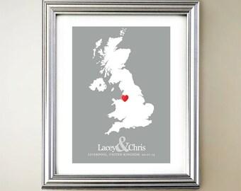 United Kingdom Custom Vertical Heart Map Art - Personalized names, wedding gift, engagement, anniversary date