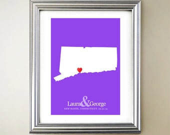 Connecticut Custom Vertical Heart Map Art - Personalized names, wedding gift, engagement, anniversary date