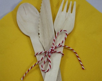 ON SALE 20 Wooden Utensils - Forks - Spoons - Knives - Wedding Supplies - Baby shower  - Birthday Party - Wood Forks - Wood Knives - Wood Sp