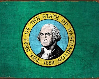 Washington State Flag Metal Sign, Evergreen State, Americana, Rustic Décor HB7113