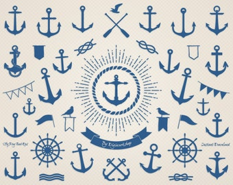 "Anchor Clip Art: ""Sea Anchor"" nautical clipart with digital images of anchor"