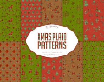 """Christmas Plaid Digital Paper - """"Plaid & Xmas"""" patterns with plaid textures and digital xmas backgrounds in red, green and brown colors"""