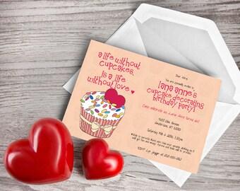 Sweet Surprise Cupcake Surprise Baby Birthday Invitation 7x5