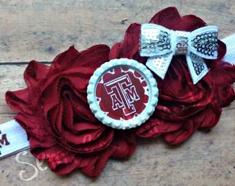 Texas A&M Headband, Aggies Headband, Maroon White Headband, Texas Bow, Aggies Bow, Aggies Girl Headband, Flower Headband, Aggies Baby Bow