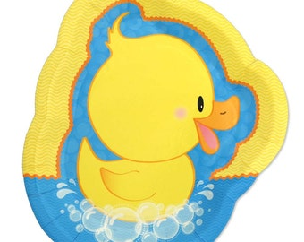 8 Count - Ducky Duck Dinner Plates - Baby Shower or Birthday Party Supplies