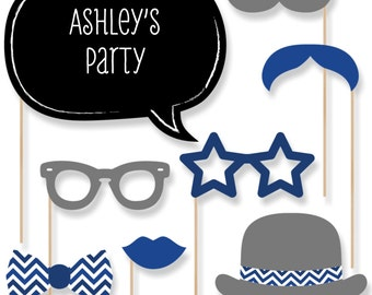 20 Navy Blue Photo Booth Props with Mustache, Glasses, Hats, Bow Ties and Custom Talk Bubble - Baby Shower, Brithday Party, Bridal Shower