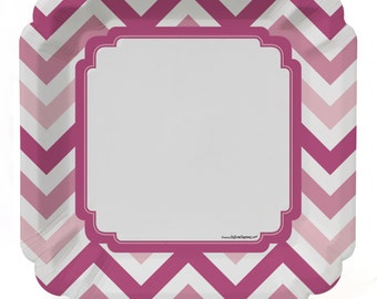 8 Count - Chevron Pink Dinner Plates - Baby Shower or Birthday Party Supplies