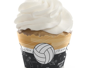 Volleyball Cupcake Wrappers - Baby Shower Cupcake Decorations - Birthday Party Cupcake Supplies - Set of 12 Cupcake Liners