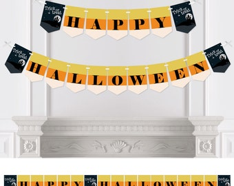 Trick or Treat - Bunting Banner - Personalized Halloween Party Decorations