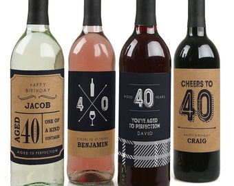 40th Birthday Wine Bottle Labels - Custom Milestone Birthday Wine Bottle Labels - Funny Personalized Wine Birthday Gift - Set of 4 Labels