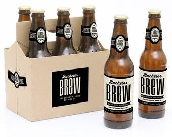Bachelor Party Beer Bottle Labels - 6 Beer Bottle Labels & 1 Carrier- Bachelor Brew - Bachelor Party Gift for Him - Beer Label Gift Idea