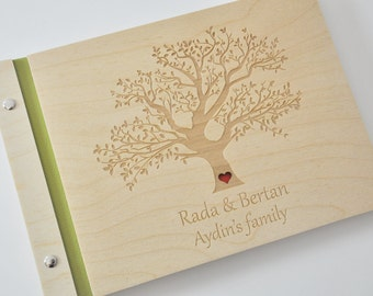 custom wood wedding guest book / album laser engraved