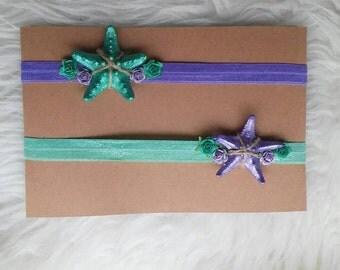 Mermaid starfish baby girl headband