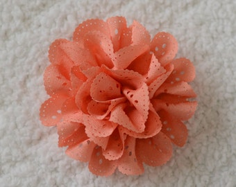 3 inch Eyelet Flower Heads, Wholesale Eyelet Hair Flowers for Flower Head Bands Lot of 1, 2, 5 or 10, Peach