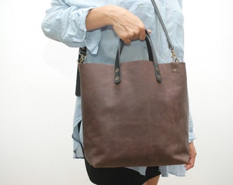 Leather Shopper  bag ,brown distressed color,black handles