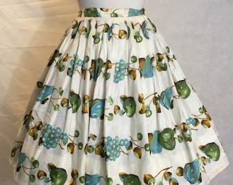 "Fruit salad novelty print vintage skirt 28"" waist"