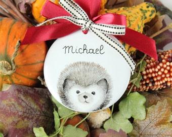 Personalized Porcelain Christmas kids ornament, Hedgehog ornament, Christmas decoration, Kids decor ornament, custom gift kids