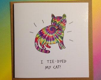Tie Dye Cat card