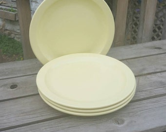 "Melamine plastic dinner plates (2) set of 4,  10"", butter yellow, Melmac Mistral Vanguard Maplex, c. 1969"