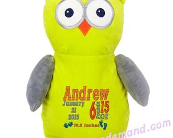 Personalized Stuffed Green Apple Owl