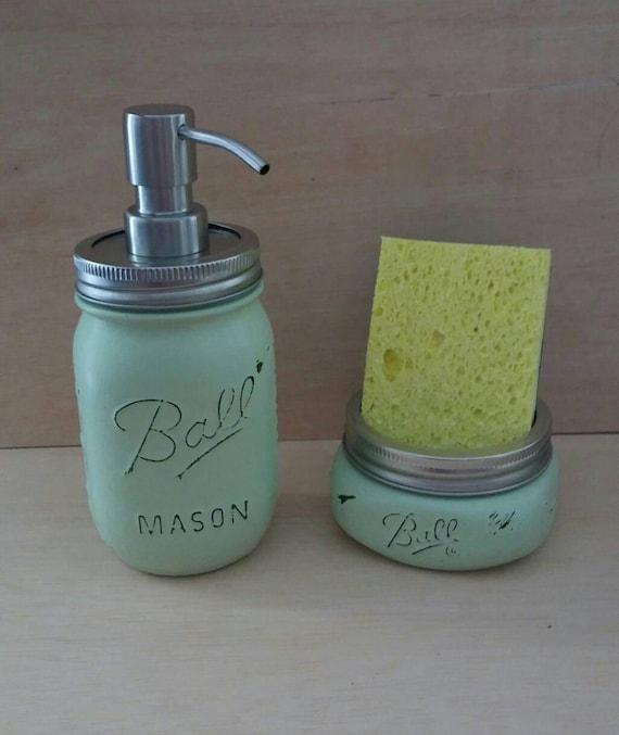 White Kitchen Soap Dispenser With Sponge Holder