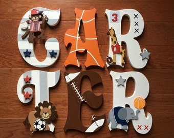 Custom Hand-Painted Letters match Lambs & Ivy FUTURE ALL-STAR Animal Sports Baby Crib Bedding New Personalized Wood Name.. Priced Per Letter