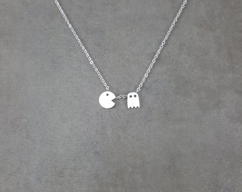 Pac Man [SILVER] Plated Necklace in Gift Box Video Games Ghost Miss Pacman Eat Fun Women Chain Dainty Modern Retro Jewelry