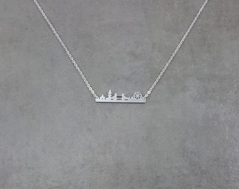 London Cityscape Skyline Silver Plated Necklace Nature Choker Jewelry Big Ben London Bridge London Eye Europe Traveler