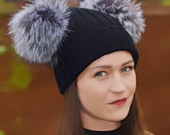 Double Pom Fox Fur Beanie Hats with 2 Large Poms