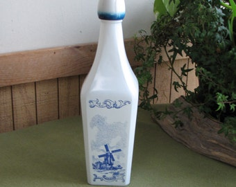 Vintage White and Blue Decanter Bottle Windmill Pattern Liquor or Wine Decanters