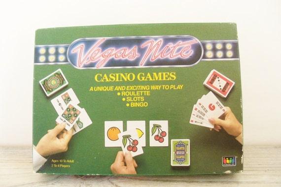 Vintage Card Games Vegas Nites Casino Games Roulette Slots Bingo International Games 1988 Original Box and Instructions