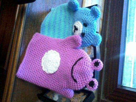 crochet baby washcloths as hand puppet