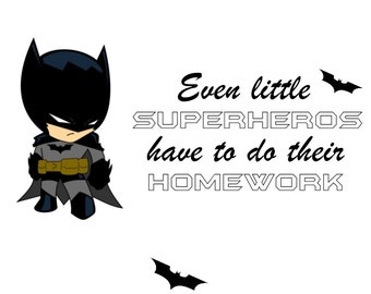 Batman even little superheros have to do their homework