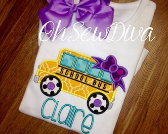 School Bus Applique First Day of School/ back to School Monogram Shirt, Girl, Personalized