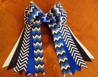 Horse Show Hair Bows/Navy Blue Chevron/Equestrian Clothing, Gift