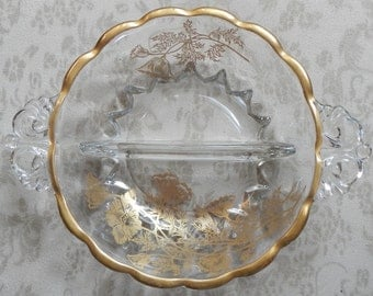 Lovely Vintage Divided Embellished Glass Dish!
