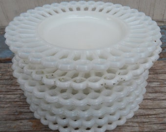 Antique Milkglass Small Plates/Pillar Candle Holders!