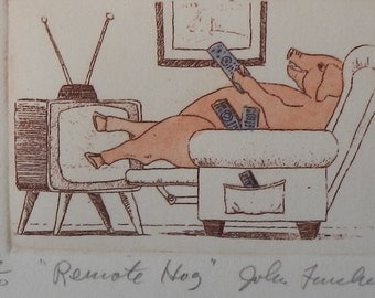 "Whimsical Pig Art Entitled ""Remote Hog""!"